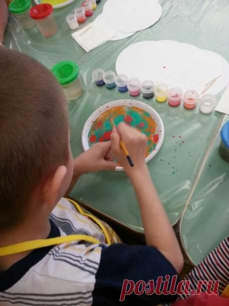 Техника рисования эбру в детском саду, конспект занятия + фото и видео