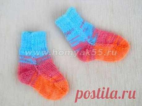 Вязание детских носочков на 2-х спицах без последующего сшивания