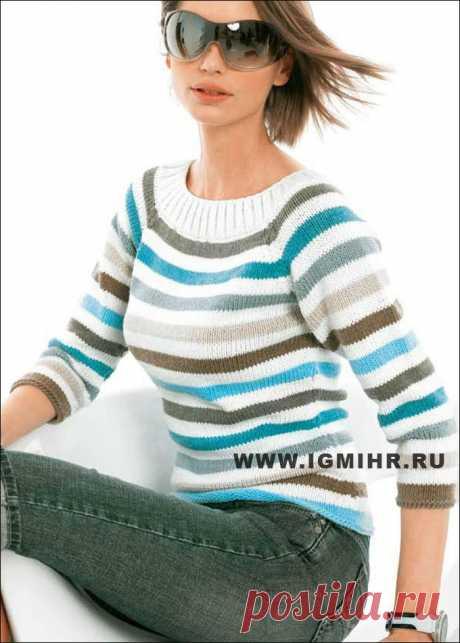 Удобно и универсально! Пуловер-реглан в полоску, с рукавами 3/4. Спицы