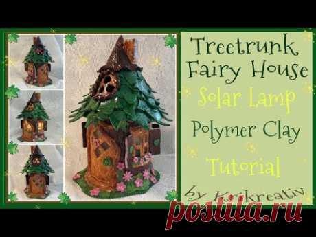 Treetrunk Fairy House Solar Lamp, Polymer Clay, Tutorial,