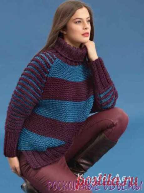 Пуловер покроя реглан в полоску. Вязание спицами для женщин