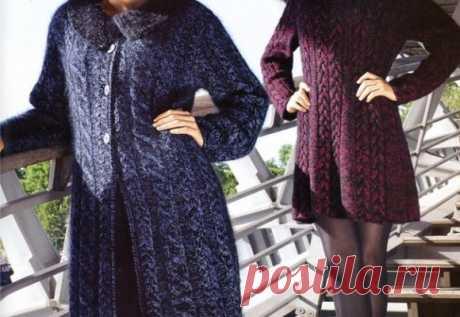 Красивое вязание | Пальто и платье спицами