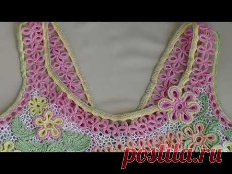 Как связать бретельки для сарафана. Ленточное кружево крючком - Crochet Lace - www.fassen.net-Видео сёрфинг