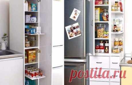 ИСПОЛЬЗОВАНИЕ МЕСТА У ХОЛОДИЛЬНИКА Идеи для маленькой кухни: используем место у холодильника. Каждой хозяйке хочется, чтобы пространство на кухне было удобно организовано: так, чтобы все было под рукой. На маленькой кухне задача организации рабочего места тесно переплетается с проблемой хранения всей нужной утвари. Предлагаем вам полезные идеи для маленькой кухни, в которых показано как практично можно использовать небольшое пространство между мойкой и холодильником.