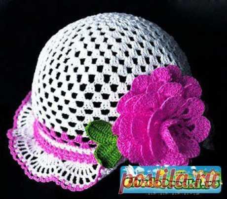 Вязание крючком шапочки для девочек.