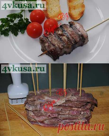Шашлык из свинины (шея) в ореховом маринаде с грушами   4vkusa.ru