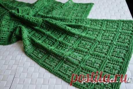 Ажурный шарф спицами узором Chaukor
