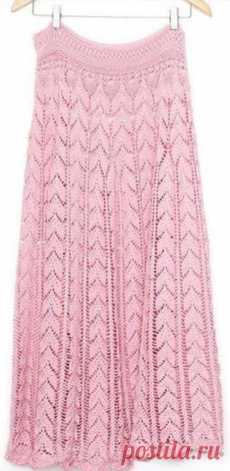 Длинная вязаная юбка крючком