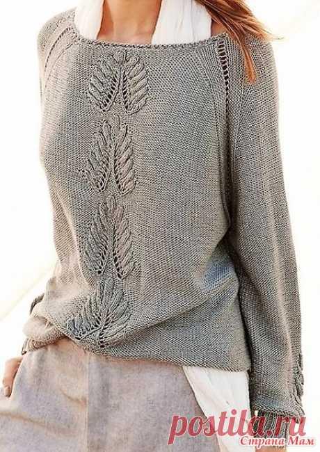 Пуловер\реглан с необычайно красивым растительным узором. Спицы. - ВЯЗАНАЯ МОДА+ ДЛЯ НЕМОДЕЛЬНЫХ ДАМ - Страна Мам