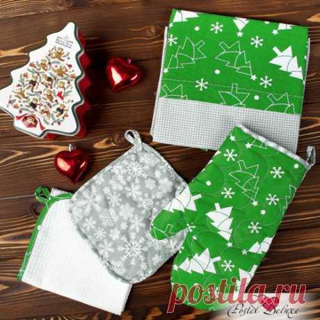Кухонный набор новый год цвет: зелёный (4 предмета) традиция из поплина, из поликоттона и из вафли