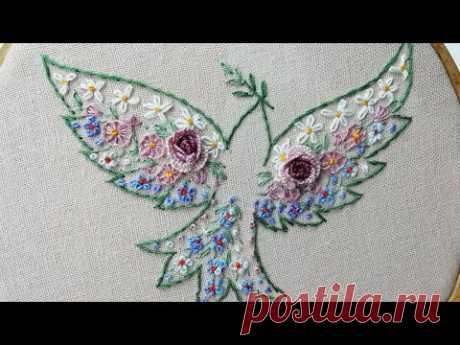 Floral embroidery : Dove of Flowers | embroidery for beginners