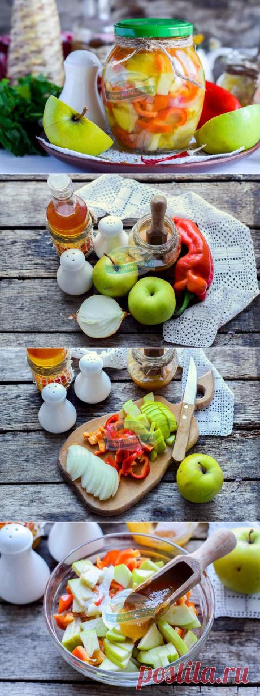 Очень вкусный салат на зиму «В яблочко» из сладкого перца и яблок