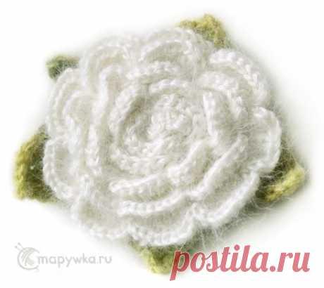 Вязаный цветок - белая роза - брошь, украшение - купить | Украшения ручной работы | HANDMADE интернет-магазин