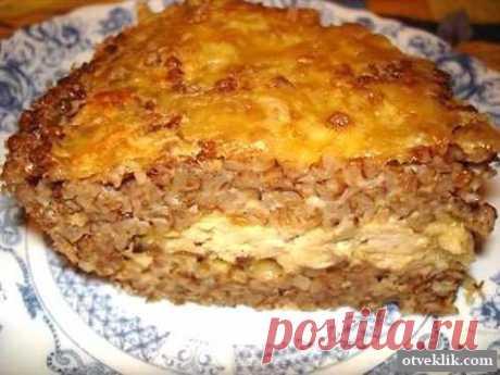Гречневая запеканка с грибной начинкой и сыром.