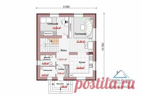 Проект дома с мансардой и крыльцом 04-24 | СтройДизайн