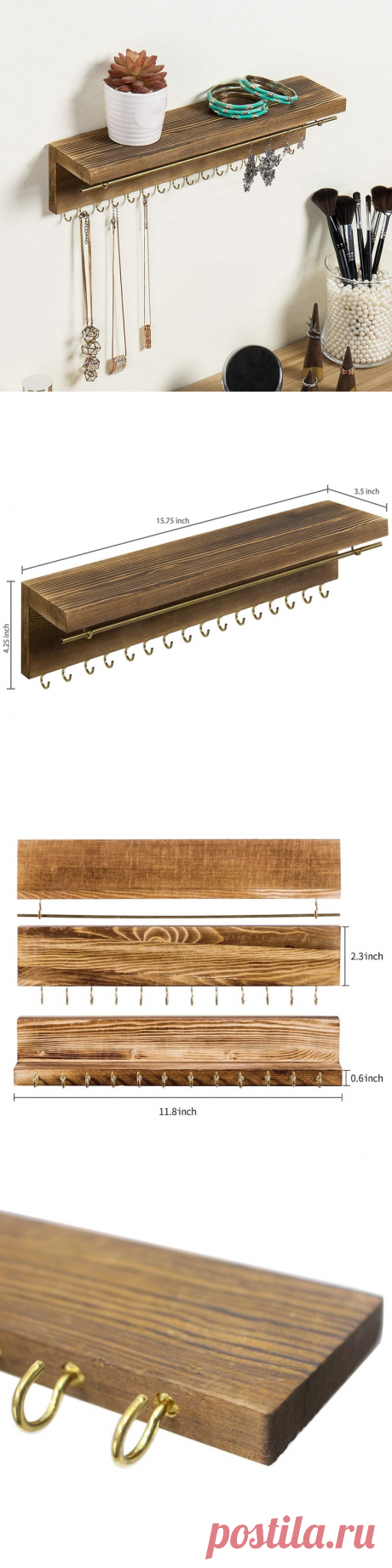 Деревянная витрина, держатель для ювелирных изделий, настенная фотография для ожерелья, серег, кольца, фотография|Крючки и направляющие| | АлиЭкспресс