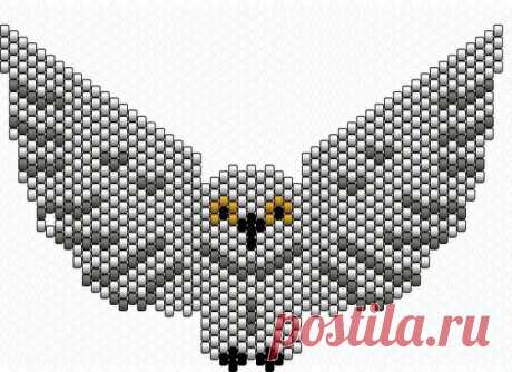 Pendent an owl in technology of mosaic weaving. Beadwork of the technician a brick stitch   Housekeeping for all family.
