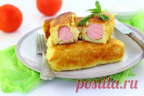 Сосиски в хрустящем картофельном тесте: рецепт вкусной закуски