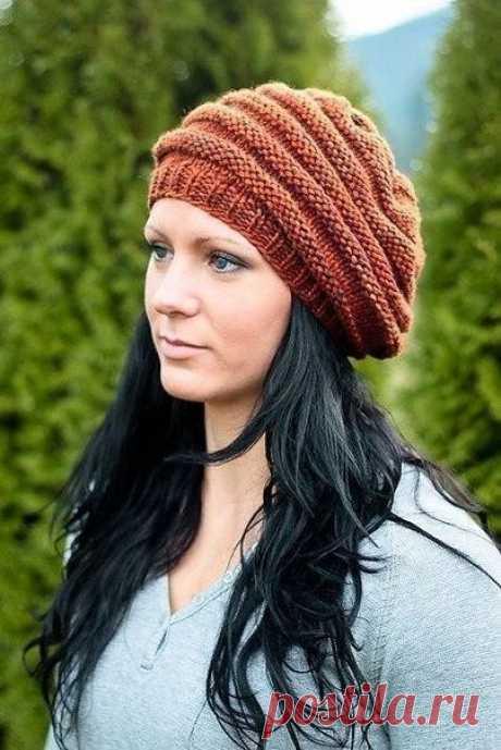 Удобная шапочка (Вязание спицами) | Журнал Вдохновение Рукодельницы