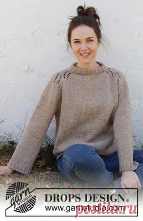 Джемпер Загородная жизнь Красивый женский свитер с рукавом по типу реглан, связан спицами 5.5 из смесовой шерстяной пряжи.Джемпер вяжется по кругу верху вниз...