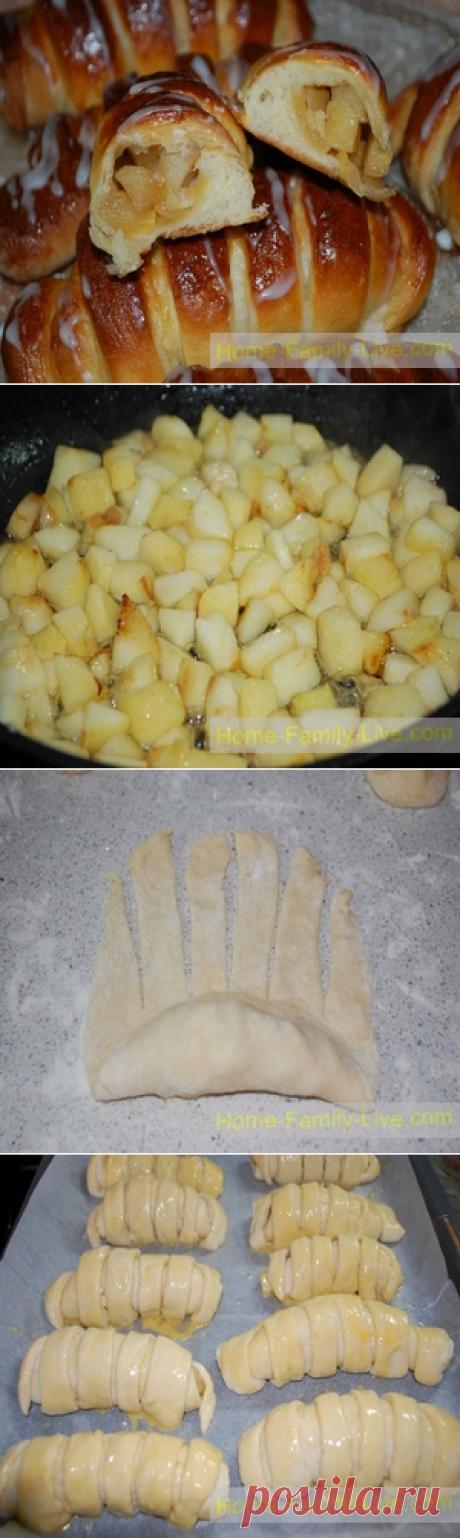 Сдобные булочки с яблоками - пошаговый фото рецептКулинарные рецепты