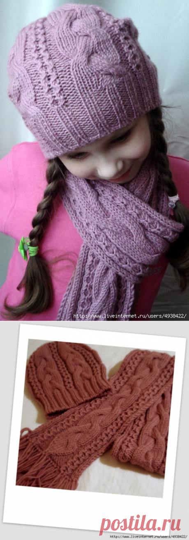 шапка и шарф для девочки с рельефным узром