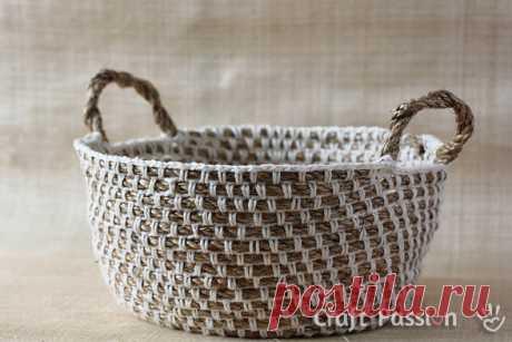 Корзинка и сумочка из пеньковой верёвки
