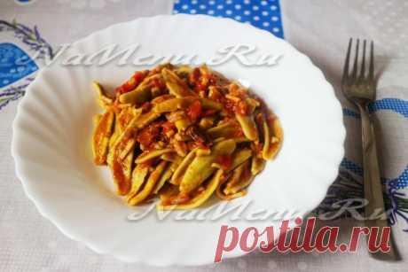 Паста с томатным соусом и белыми грибами, рецепт