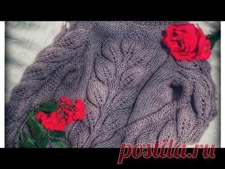 """Красивый детский свитер с элементом """" Листья на ветке """"Мк 3 часть"""
