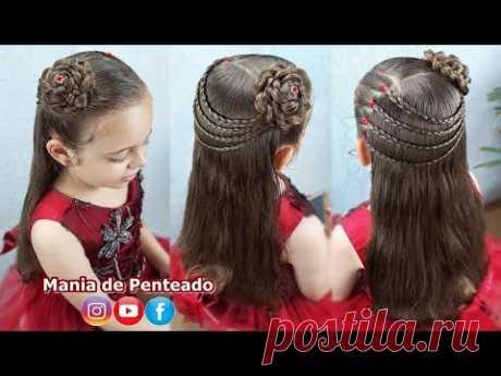 Penteado Elegante Fácil com Flor de Cabelo   Easy Hairstyle Braided Flower🌹
