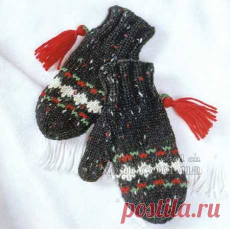 Children's mittens with brushes