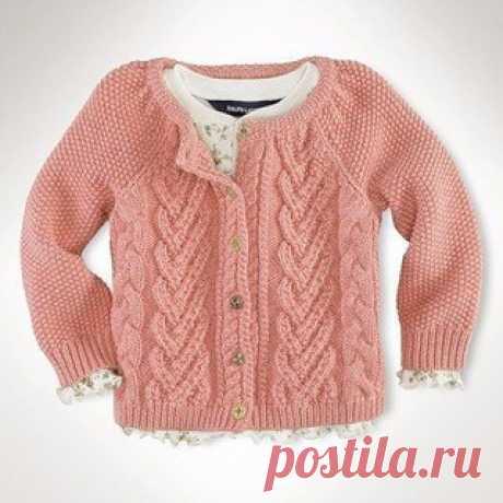Кофточка для девочки (спицы). Полное описание смотрите по ссылке. #вязание #рукоделие #дети #вязание_детям