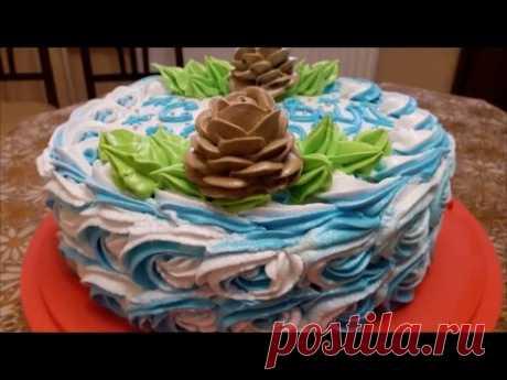 La receta de la torta DE AÑO NUEVO Adornamos la torta DE MANDARINA la torta belkovo con la crema cocida Cake decoration