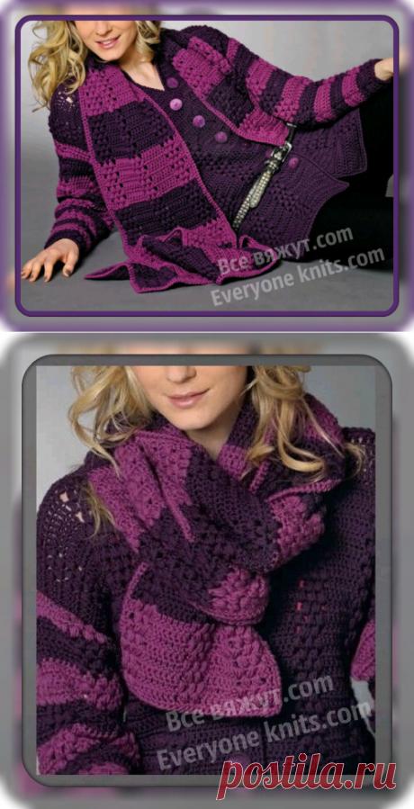 ЖАКЕТ НА ПУГОВИЦАХ С V-ОБРАЗНЫМ ВЫРЕЗОМ, ДОПОЛНЕННЫЙ ШАРФОМ.| Все вяжут.сом/Everyone knits.com |
