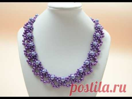 PandaHall Jewelry Making Tutorial Video - How to Bead a Purple Pearl Lace Necklace for Brides