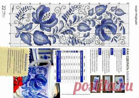 Узнаваемая гжель на вышитых работах: интересный вариант для любителей русской народной росписи | Мои непослушные крестики | Яндекс Дзен