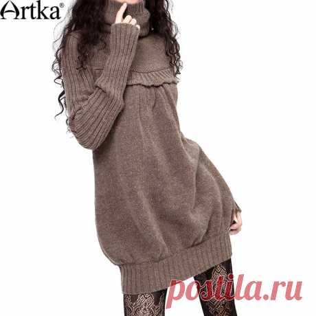 Artka ретро женская зимняя одежда высоким воротником с длиным рукавом коричневый удобный облегающий высококачественный элегантный мягкий шерстяный свитер LB15635D купить на AliExpress