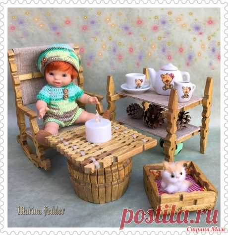 Furniture fonts for dolls from economic clothespegs. - Clothes for a doll - the Country of Mothers