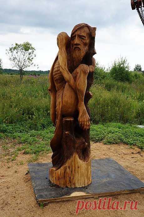 """Деревянная скульптура """"Леший"""". Материал липа, высота 150см"""