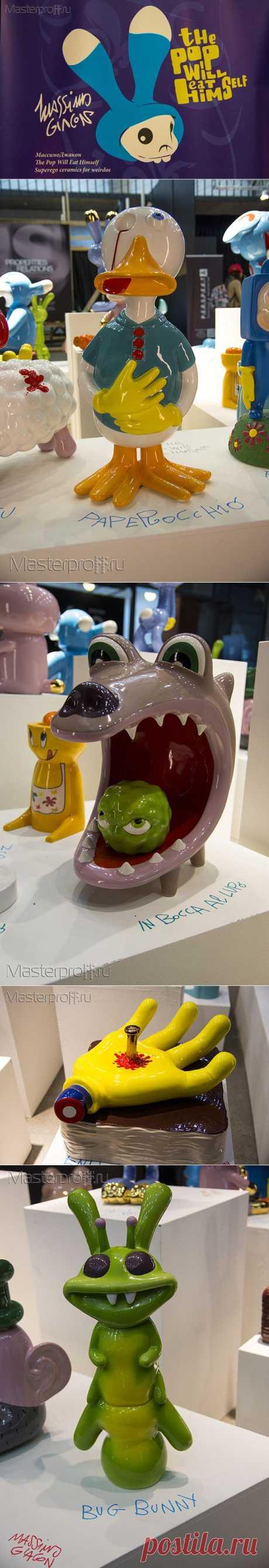 The Pop Will Eat Himself - Керамические скульптуры   Проект керамических скульптур Массимо Джакона разработан в дизайн-студии Superego Editions. Перед зрителями предстает семейство чудовищных, ярких, гротескных, но в то же время очаровательных персонажей