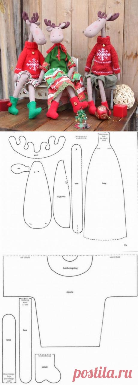 Текстильные лоси в стиле тильда