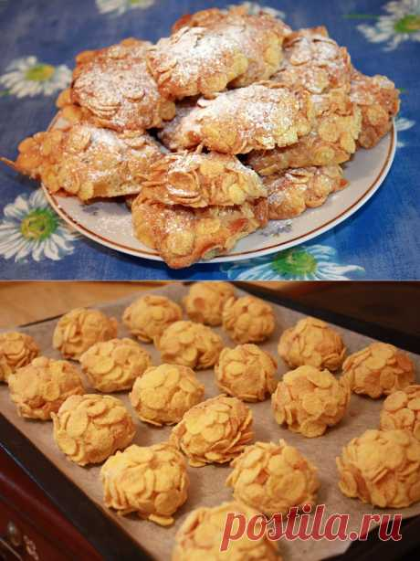 Recipe: Desert Rose cookies\u000d\u000aIngredients:\u000d\u000aSweet corn flakes – 150 gr.\u000d\u000aFlour 150 gr.\u000d\u000aThe butter (softened) – 100 gr.\u000d\u000aSugar – 100 gr.\u000d\u000aEgg – 1 piece.\u000d\u000aBaking powder – 1 teaspoon,\u000d\u000aRaisin handful\u000d\u000aVanillin\u000d\u000aIcing sugar