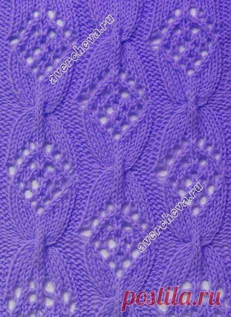 Ажурный узор спицами бантики | каталог вязаных спицами узоров