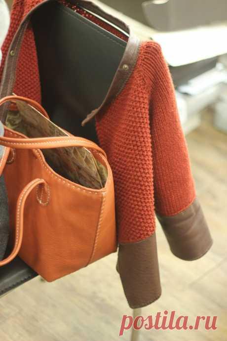 Вязаные кардиганы с кожаным декором Модная одежда и дизайн интерьера своими руками