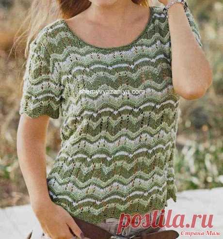 Полосатый пуловер волнообразным узором спицами - Вязание - Страна Мам
