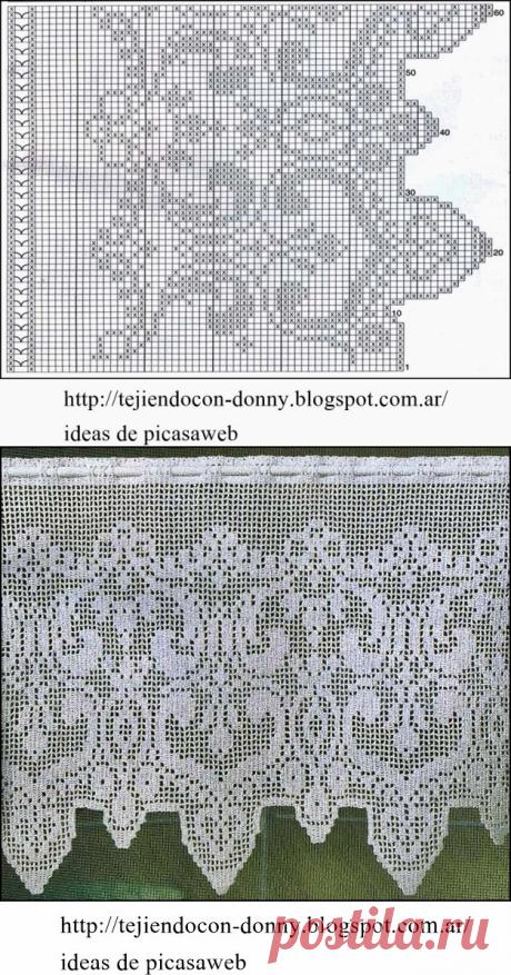 crochet fabric , CROCHET - GANCHILLO - PATRONES - GRAFICOS: CORTINA TEJIDA A GANCHILLO