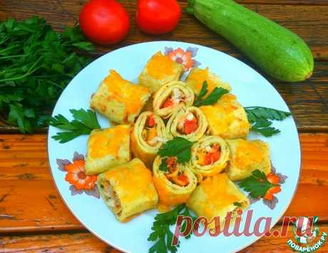 Кабачковые блинчики с начинкой – кулинарный рецепт