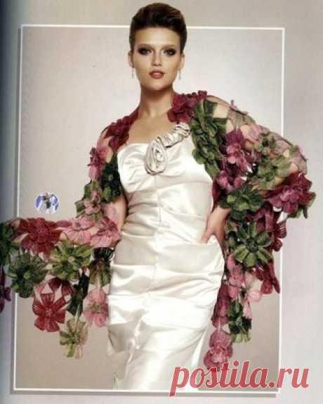 Шикарная шаль Цветы Как вязать цветок  #секретымастеров #шитье #handmade #вязание