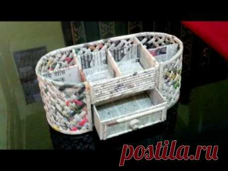 How to make a Stationery /Desk Organizer using cardboard and newspaper