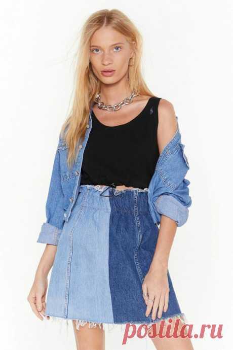 Двухцветная юбка из джинсов Модная одежда и дизайн интерьера своими руками
